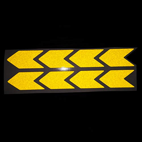 (Chevron Yellow Reflective Sticker Decal Arrow 8x 3M High Quality 25x50 mm Sign With Flash Night PVC Vinyl Sport Motorbike Helmet Motorcycle Bike Racing Car Badge Door Window Tailgate Truck Trunk Side Rear Emblem )