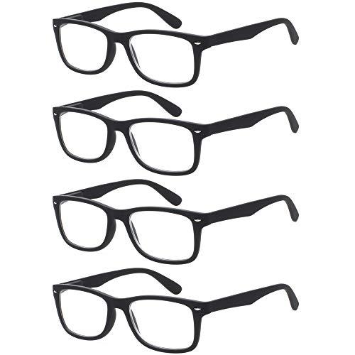 Reading Glasses 4 Pack Fashion Readers Quality Spring Hinge Glasses for Reading for Men and Women (4Black, 2.25) ()