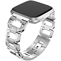 AutumnFall 1PC Fashion D Word Crystal Metal Watch Band Wrist Strap For Fitbit Versa Smart Watch,22mm Band Length:135-220MM (Silver)