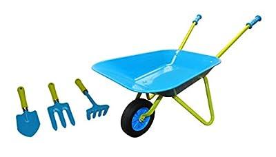 G & F 10041 JustForKids Kids Wheel Barrel and Garden Tool Set