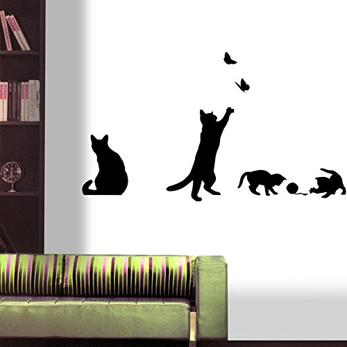 vinyl baseboard designs black cats design catching butterfly playing with ball art peel