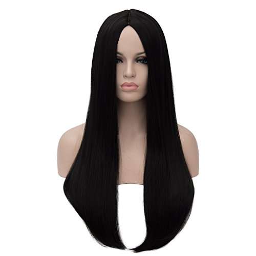 Aosler Women's Black Long Wig,24 Inches Straight Yaki Synthetic Hair Wigs - Heat Friendly Cosplay Party Costume Wigs for Halloween -