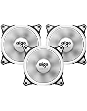 Aigo Aurora 120mm Cooling Fan with White LED Halo Ring Anti-Vibration Pads (3 Pack)