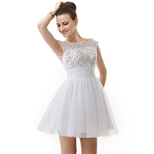 Scoop Stone BessWedding Short Women Party Rhine Tulle Dress s Beads White Ball Evening A1tqPwt