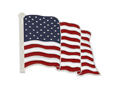 Wholesale American Flag Enamel Lapel Pin-- PROUDLY MADE IN USA (Silver Tone) (1 Pin) ()