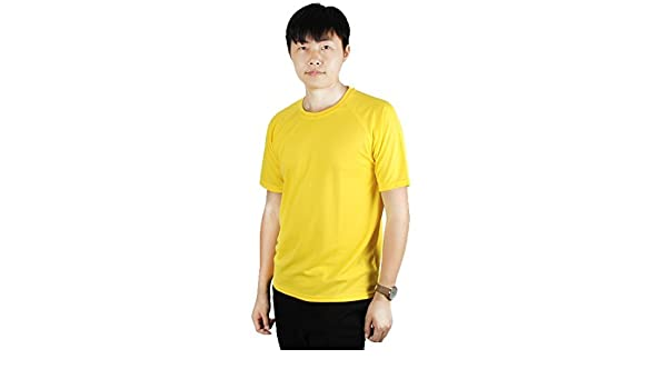 Amazon.com : eDealMax Hombres maratón al aire Libre, de poliéster, de compresión de secado rápido Top de Manga Corta Deportes Camiseta, M (US 38) Amarillo ...
