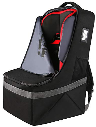 Car Seat Travel Bag,Airport Gate Check Bag for Carseat,Carseat Carrier Backpack,Durable Water Resistant Infant Seat Travel Bag with Adjustable Shoulder Straps,Universal Carseat Cover,Black