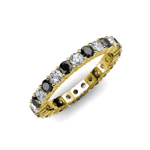 Black and White Diamond Common Prong Eternity Band 2.05 ct tw to 2.46 ct tw in 14K Yellow Gold.size 6.0 (Diamond Band Eternity Tw 2ct)