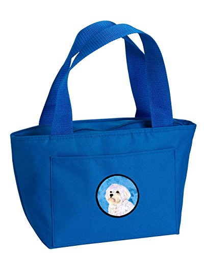 Caroline's Treasures SS4757-BU Maltese Lunch or Doggie Bag, Large, Blue