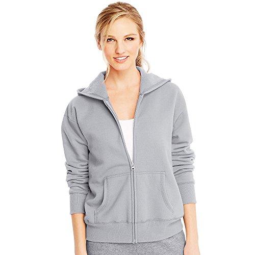 Steel Womens Sweatshirt - Hanes ComfortSoft EcoSmart Women's Full-Zip Hoodie Sweatshirt_Light Steel_S