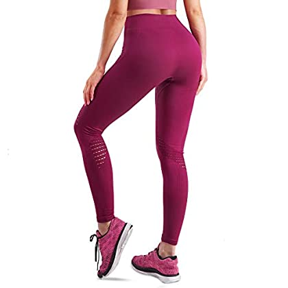 LEINIDINA High Waisted Leggings for Women Seamless Workout Yoga Pants Running Tights with Tummy Control Compression 41KchHNnsxL