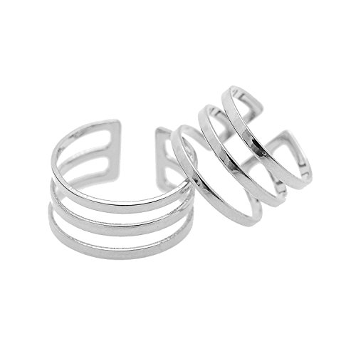 Sobly Jewelry Womens Adjustable High Gloss Three Line Midi Finger Knuckle Ring Set of 2 (Silver) (Steel Gloss Ring)