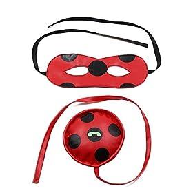 - 41KchfTMksL - Kids Zip Miraculous Ladybug Cosplay Costume Halloween Girls Ladybug Marinette (S)