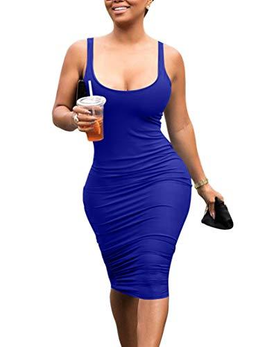 Mokoru Women's Casual Basic Pencil Tank Dress Sexy Sleeveless Bodycon Midi Club Dress, Small, Royal Blue