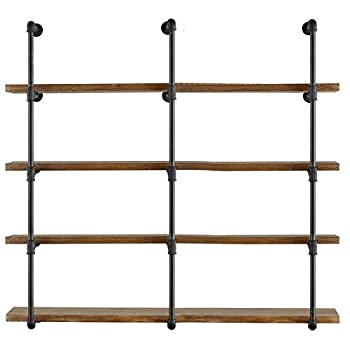 Image of Yuanshikj 3Pc (56' Tall 12'deep, 3/4') Industrial Wall Mount Iron Pipe Shelf Shelves Shelving Bracket Vintage Retro Black DIY Open Bookshelf Storage offcie Room Kitchen (3 Pcs 5Tier Hardware Only)