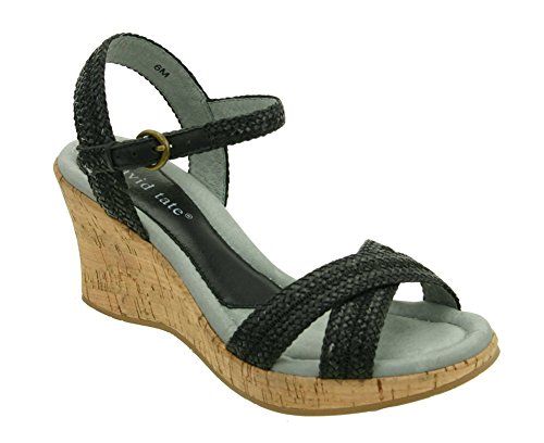 David Tate Women's Bailey Sandals Black PU Woven Size - 5.5M