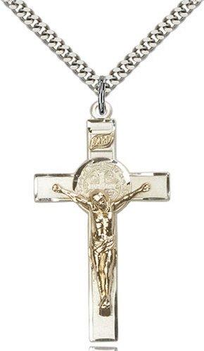 Icecarats Créatrice De Bijoux Bicolore Gf / Ss R. Benoît Crucifix Pendentif 1 3/4 X 1 Pouce
