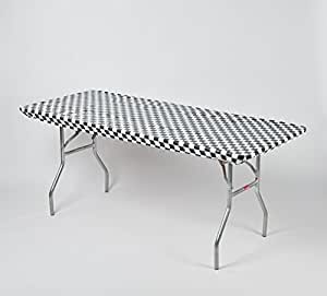 "Kwik-Covers 6' Rectangle Plastic Table Covers 30"" x 72"", Bundle of 5 (Black and White Check)"