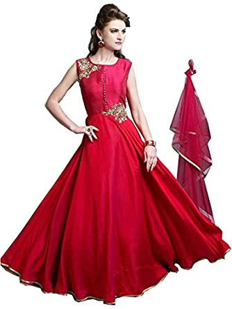 e13d65a4b8 Karishma Womens s Red Tapeta Silk Attractive Indo-Western Dress  Materials Salwar Suit (Free Size)  SDM 30 (KC G1)   Amazon.in  Clothing    Accessories