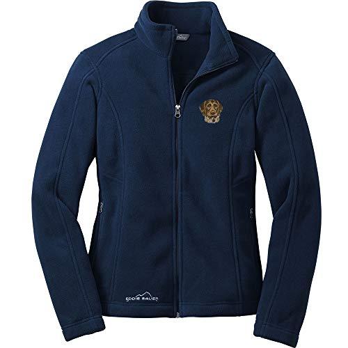(Cherrybrook Dog Breed Embroidered Ladies Eddie Bauer Fleece Jacket - X-Large - River Blue - German Wirehaired Pointer)