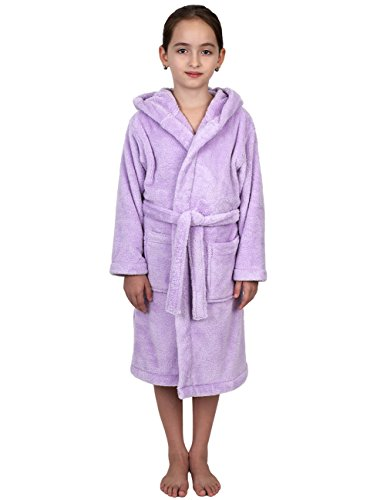 TowelSelections Big Girls' Robe, Kids Plush Hooded Fleece Bathrobe Size 12 Lavender by TowelSelections