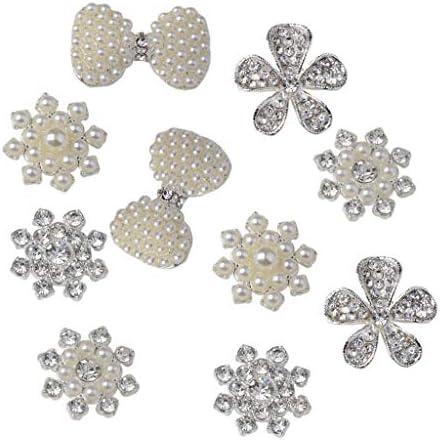 freneci 10xのどの真珠のラインストーン装飾花フラットバックラインストーンボタン