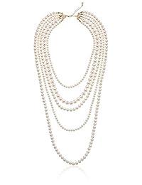 """Faux Cream Pearl Gold-Tone Multi-Strand Necklace, 34""""+2"""""""
