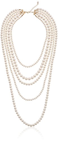 "Gold-Tone Cream Color Pearl Multi-Strand Necklace, 34""+2"""