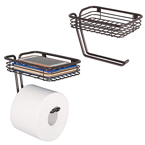 mDesign Wall Mount Toilet Tissue Paper Roll Holder and Dispenser with Storage Shelf for Bathroom Storage - Wall Mount, Holds and Dispenses One Roll - Pack of 2, Durable Metal in Bronze