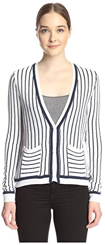 SHAE Women's Tipped Cardigan, White/Navy Combo, M - Tipped Cotton Cardigan