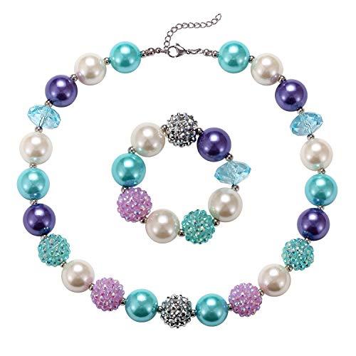 (Mermaid Theme Color Chunky Bubblegum Beads Summer Vacation Beach Girls Dress Up Fashion Jewelry)