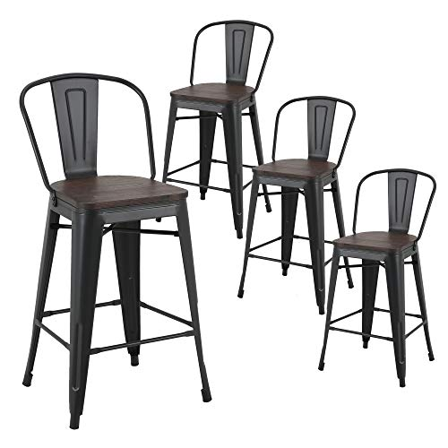LSSBOUGHT Tolix Style 26 Inches Metal Counter Stools with Wood Seat and Backrest Indoor-Outdoor Use Stackable Bar Stools Set of 4 (Black) (Best Wood For Outdoor Use)