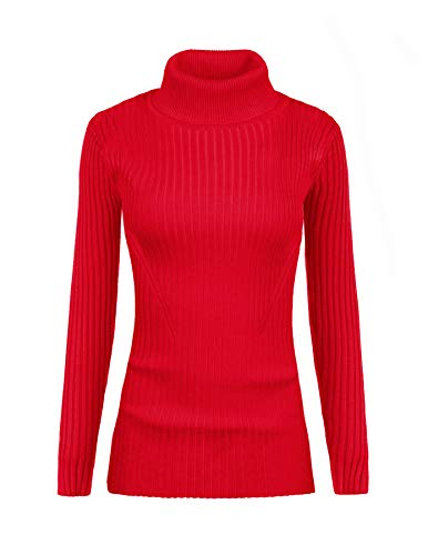 (v28 Women Stretchable Turtleneck Knit Long Sleeve Slim Fit Bodycon Sweater (S,Turtred))
