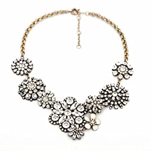 fit&wit Clear Rhinestone Snow Flower Crystal Resin Statement Fashion Necklace Women