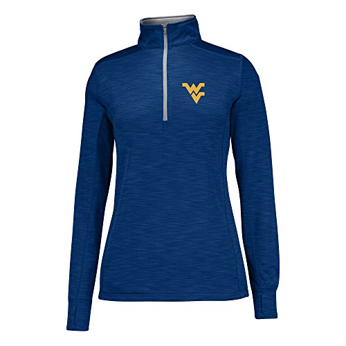 J America NCAA West Virginia Mountaineers Women's Courtside Poly Fleece 1/2 Zip Sweater, X-Large, Navy/Cement ()