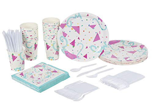 Geometric Confetti Party Supplies – Serves 24 – Includes Plates, Knives, Spoons, Forks, Cups and Napkins. Perfect Birthday Party Pack for Girls Themed Parties, Colorful Geometric Confetti Pattern