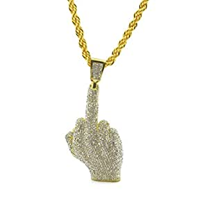 HongBoom Hot Hip Hop Cuban Link Chain 14K Gold Plated CZ CRYSTAL Fully Iced-Out Finger Necklace (Gold)