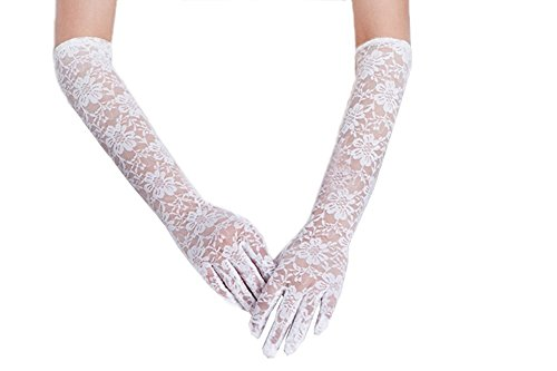 Women's Elegant Lace Gloves (Long-white)