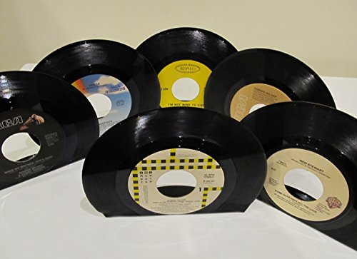vinyl-record-bookends-45-rpm-pop-rock-country-artists-assorted-lot-of-6-bookends
