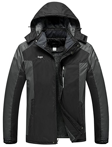 Lega Men's Outdoor Waterproof Mountain Jacket Fleece Windproof Ski Jacket(Black/L)