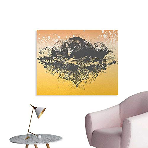 Tudouhoho Black The Office Poster Halloween Theme Vector Illustration of a Wicked Crow and Ornate Flowers Print Home Decor Wall Black and Mustard W36 xL24 for $<!--$32.80-->