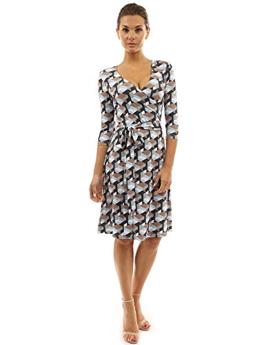 PattyBoutik Women Faux Wrap A Line Dress (Brown and Black Small) ()