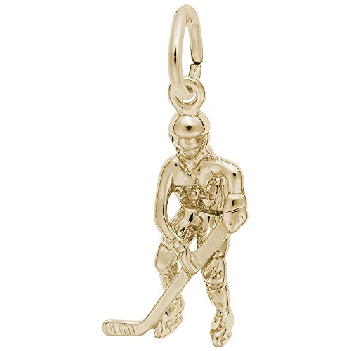 Rembrandt Charms, Female Hockey Player, 22K Yellow Gold Plated Silver (Charm Player Plated Gold)