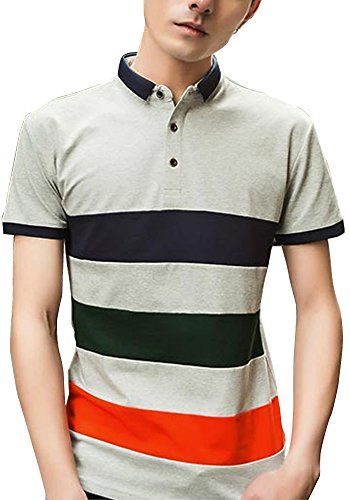 Heaven Days(ヘブンデイズ) ポロシャツ ゴルフウェア ゴルフシャツ パネルボーダー 半袖 メンズ 1708F0113
