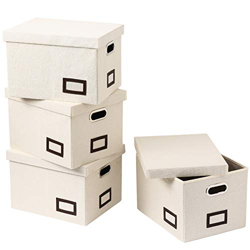 SUPERJARE Collapsible File Box, Pack of 4, Storage Office Box Organizer with 60 lbs Weight Capacity, Handles and Removable Lid for Letter/Legal, Cream Linen Fabric