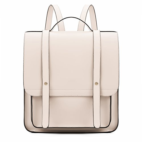 ECOSUSI Women Briefcase Laptop Backpack PU Leather Satchel Messenger Bag Fits up to 14 Inch Laptops with Small Purse, Beige
