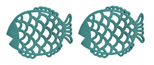 Cast Iron Trivets 2 Piece Tropical Turquoise Blue Cast Iron Filigree Fish Decorative Trivet Set 7.75 X 0.75 X 6 Inches (Blue Cast Iron Trivet)