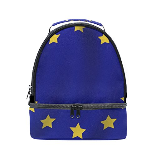 Large Double Deck Lunch Box Misc European Union Flag Insulated Bag Cooler Bag