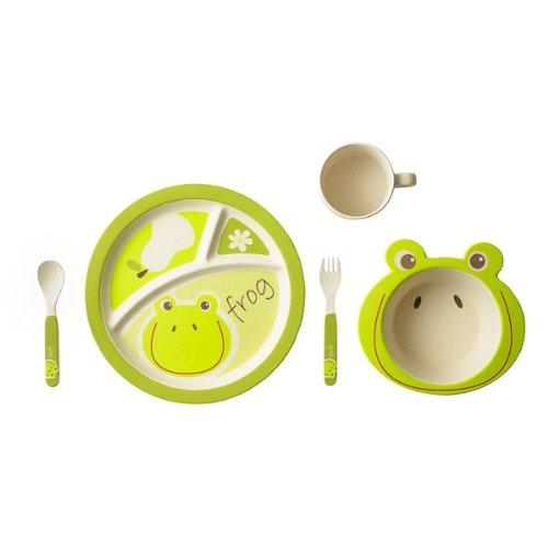 EcoBamboo Ware Kids Bamboo Dinnerware Set, Frog, 5 Piece