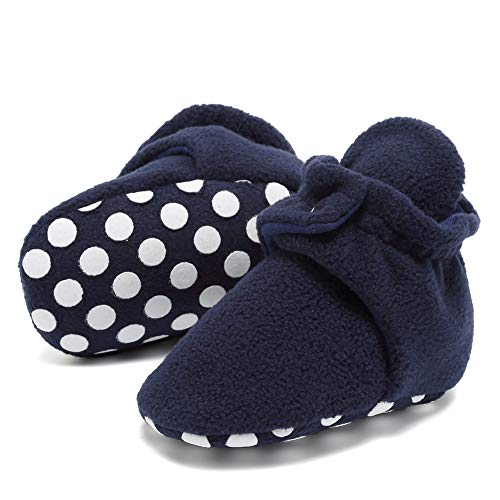 CIOR Baby Newborn Fleece Booties with Non Skid Bottom,DNDNKXBX,Button.Navy,13 by CIOR